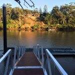 Pontoon with timber decking on the gangway/walkway